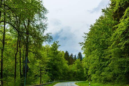 Winding mountain road in Berchtesgaden, Germany