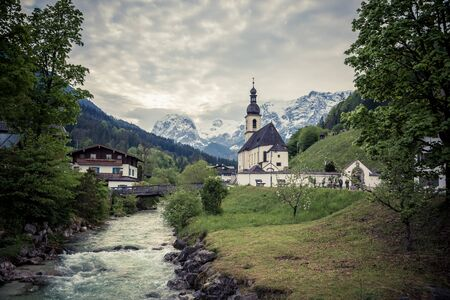 Ramsau Church in Berchtesgaden, Germany 스톡 콘텐츠