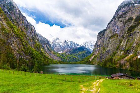 Berchtesgaden, Germany boarded the lake farm Foto de archivo