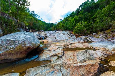 Scenery of Bawangling Waterfall in Changjiang County, Hainan Province, China Foto de archivo