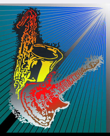 Abstract illustration of an electric guitar and a tenor saxophone