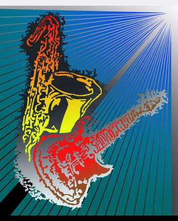 tenore: Abstract illustrazione di una chitarra elettrica e un sax tenore