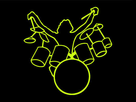 Drumer fluorescent in silhouette isolated on black background Illustration