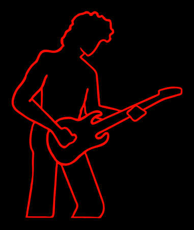 guitar man fluorescent in silhouette isolated on black background  Illustration