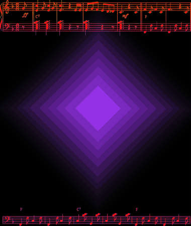 musical score: extract gradient style musical score on a black background Illustration