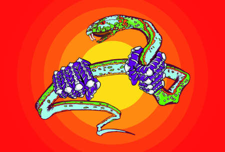 Dangerous snake in the hands of warlord on gradient background light explosion