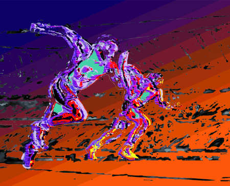 Two riders in full effort on gradient background abstract