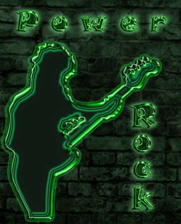 Power Rock neon sign of a nightclub representing an electric bass player