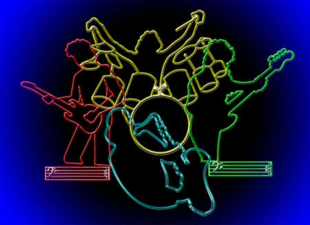 Neon silhouettes of a group of jazz musicians on blue gradient background and black Illustration