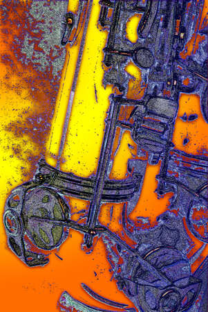 Focus on the abstract of a tenor saxophone keywork Illustration