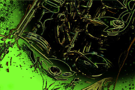 Abstract close-up on ingredients for a tenor saxophone in gold on green and black gradient background