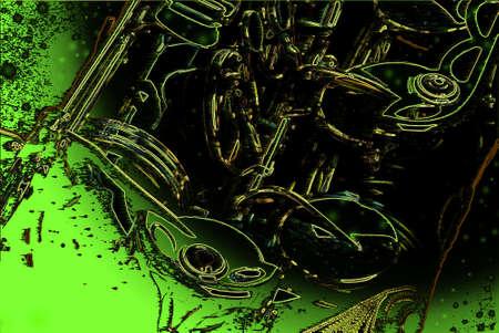 tenore: Estratto close-up su ingredienti per un sax tenore in oro su sfondo sfumato verde e nero Vettoriali