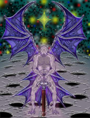 dark angel:  dark angel in meditation in the cosmos         Illustration