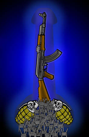 kalashnikov: Composition of a Kalashnikov rifle and two grenades for symbolic suggestion of masculinity