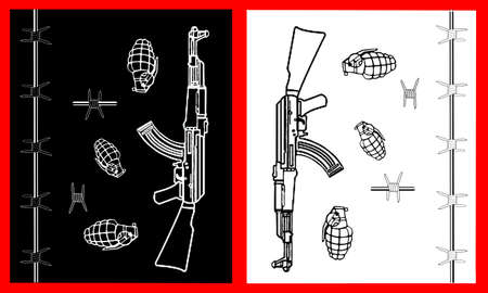 machine gun s grenades, barbed wire, military,offensive, defensive