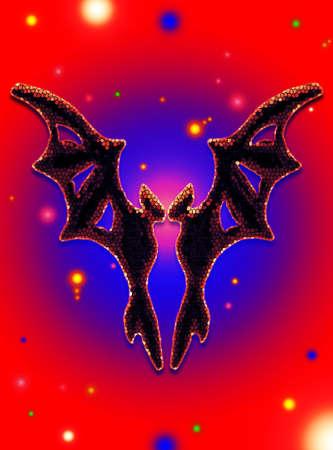 esoterik: Gothic Black Bat in the Cosmos Illustration