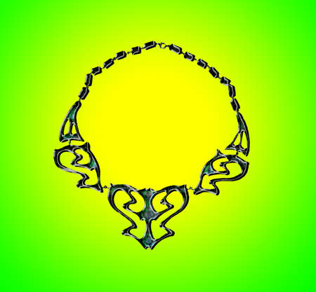 Butterfly Necklace jewel on yellow gradient background and green Illustration