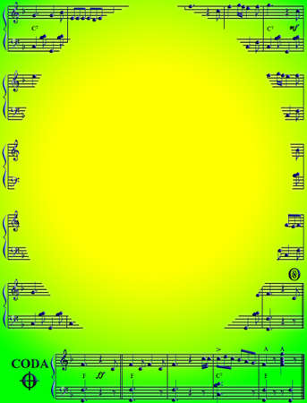 displays:  gradient style musical score on a green and yellow background