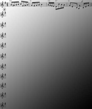 musical score: Coaching for layout Menu Map on black and white gradient background Illustration