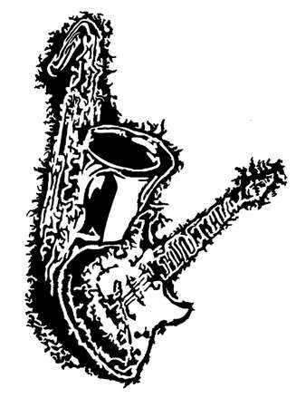 tenor: Electric Guitar and Tenor Saxophone Illustration