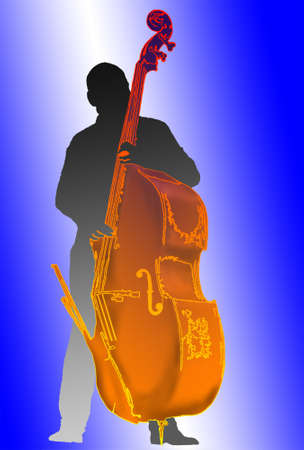 bass player: man plays the bass Illustration