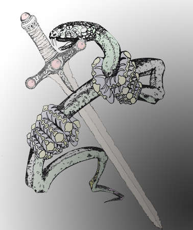 entered: Snake with sword tattoo