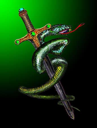 snake leather: Green snake cross the sword Illustration
