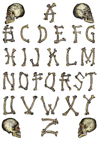 Bone alphabet Illustration