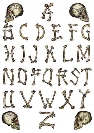 Bone alphabet Illustration