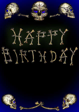 Skulls Happy Birthday Illustration