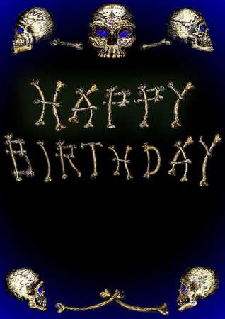 Skulls Happy Birthday Illusztráció