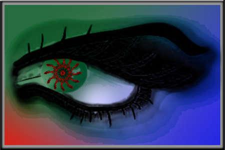 Green eye mantras Vector