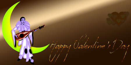 Happy Valentine s Day Pierrot Moon