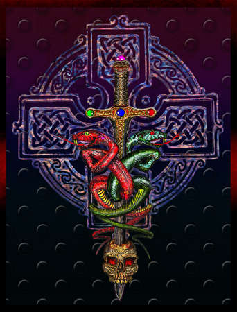 mythologie: Celtic cross and two snakes cross the sword