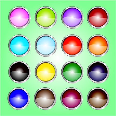 16 color web buttons Vector
