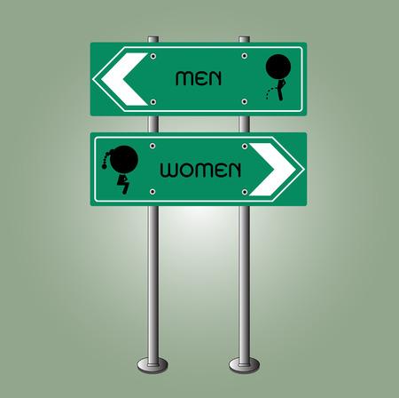 green board: toilet sign on green board