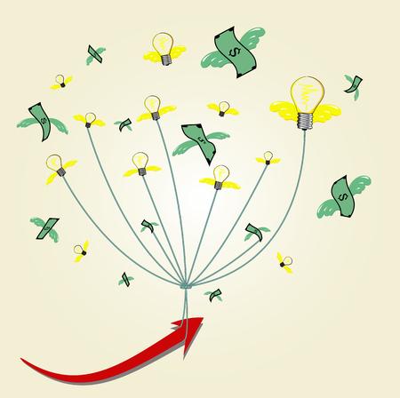 more money: business idea concept,have more money and idea