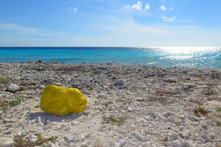 Yellow stone on the tropical beach.