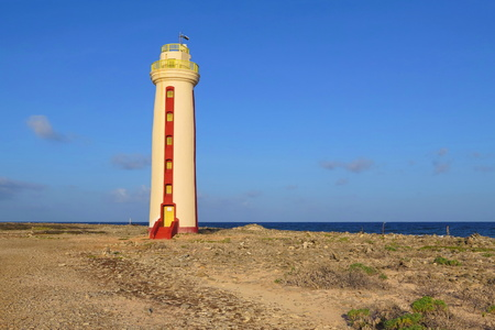 Lighthouse on tropical island. Renovated Willemstoren lighthouse on the caribbean island.