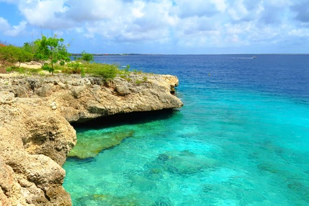Rocky shore with stones and green trees. Turquoise calm wide tropical ocean. Stok Fotoğraf