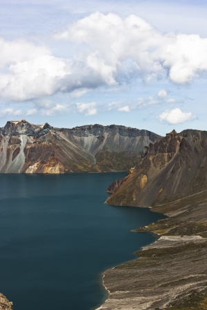 the deepest: Tianchi in Changbai Mountain, located in JILIN province, is one of the deepest lake in China  Stock Photo