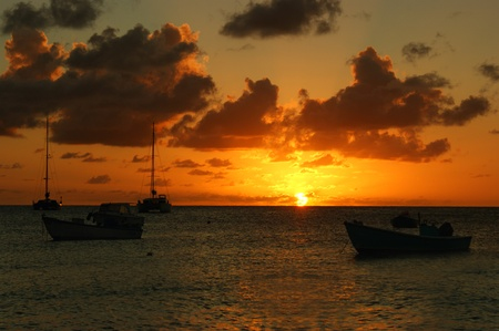 Beautiful sunset over boats, Puerto Rico photo