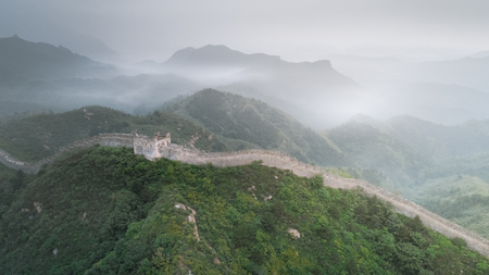 Fog formed scenery of Great Wall, China-East Asia