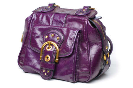 patton: A purple patton leather hand bag. Stock Photo