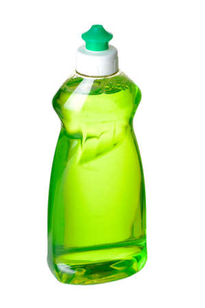 Liqid green soap bottle on white background