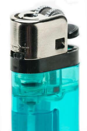 butane: Macro shot of a blue butane lighter on a white background. Stock Photo