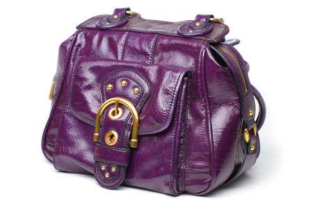 Een paarse patton lederen handtas.