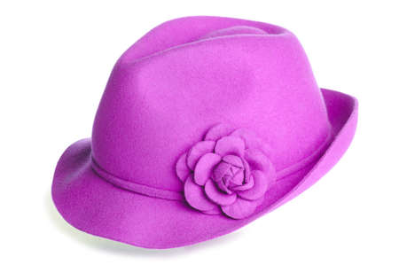 a pink felt hat with a flower on it.