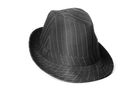 Een zwarte gestreepte klassiek ogende fedora mannen hoed. Stockfoto
