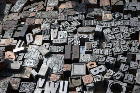 Old die press letters and numbers Stock Photo - 16132163